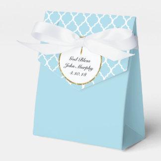 Gold Cross on Light Blue Religious Custom Favour Box