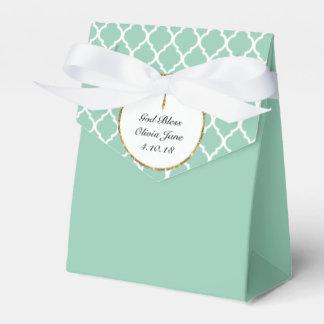 Gold Cross on Mint Green Religious Custom Favour Box