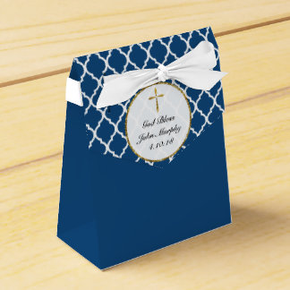 Gold Cross on Navy Religious Custom Party Favour Boxes