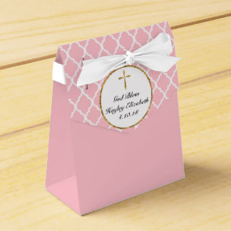Gold Cross on Pink Religious Custom Favour Box