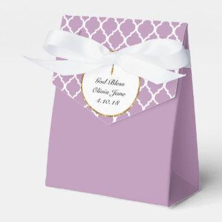 Gold Cross on Purple Religious Custom Favour Box