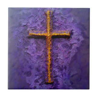 Gold cross on purple small square tile