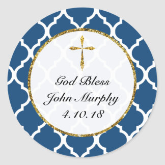 Gold Cross Personalized Religious Favor Tag, Navy Classic Round Sticker