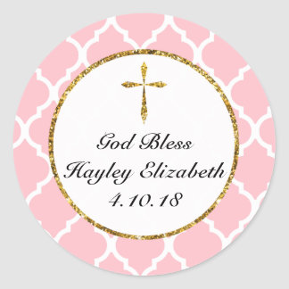Gold Cross Personalized Religious Favor Tag, Pink Classic Round Sticker