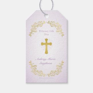 Gold Cross Purple Baptism Gift Tags