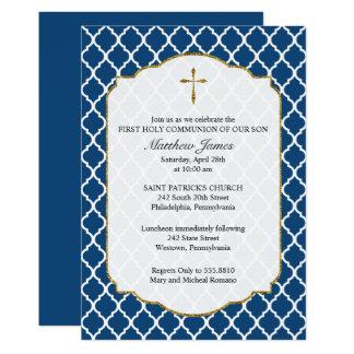 Gold Cross, Quatrefoil Religious Invitation, Blue Card