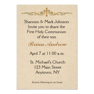 Gold Cross Religious Invitation