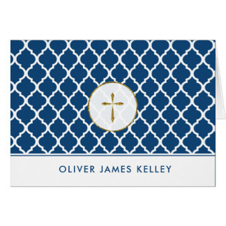 Gold Cross Religious Thank You, Navy Quatrefoil Card