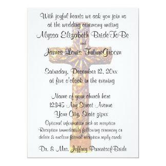 Gold Cross Religious Wedding 17 Cm X 22 Cm Invitation Card