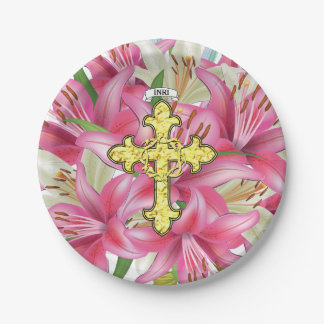 Gold Cross Thorns Lilies Paper Plate
