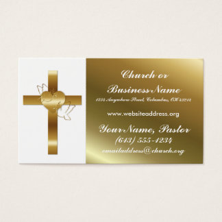 Gold Cross w Doves Church Minister Business Card