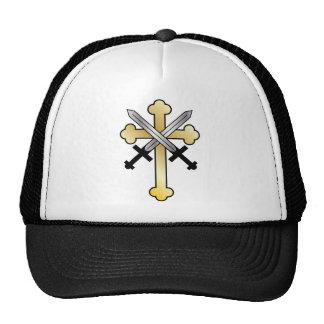 Gold Cross with Crossed Swords Cap