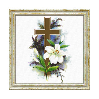 Gold Cross With White Flower Canvas Print