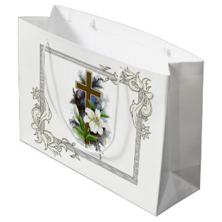 Gold Cross With White Flower Large Gift Bag