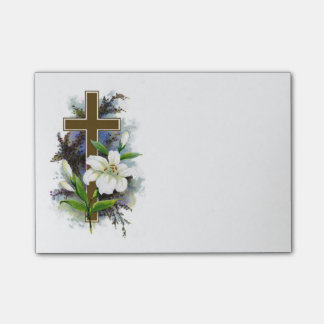 Gold Cross With White Flower Post-it Notes