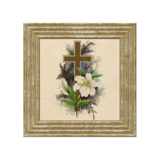 Gold Cross With White Flower Wood Wall Art