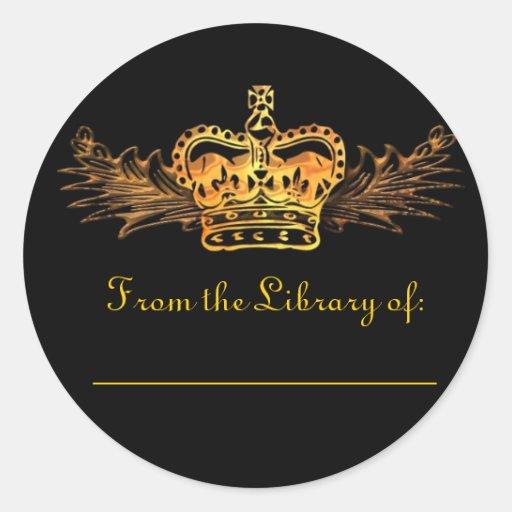 Gold Crown Bookplate Sticker