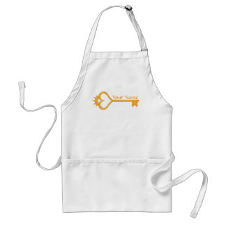 Gold Crown Heart Key Adult Apron