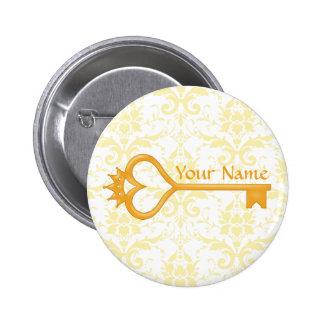 Gold Crown Heart Key Pinback Buttons
