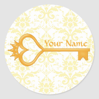 Gold Crown Heart Key Classic Round Sticker