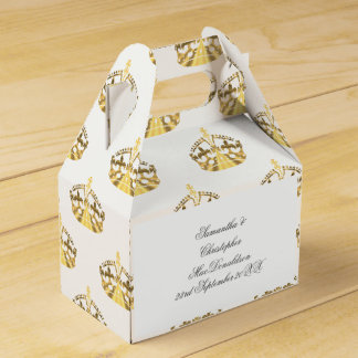 Gold crown on custom colour wedding favour box