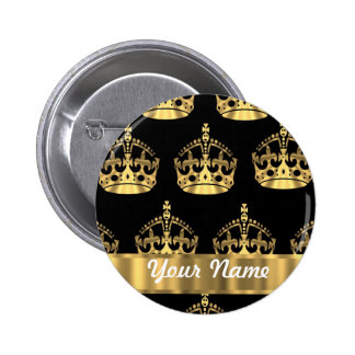 Gold crown pattern on black buttons
