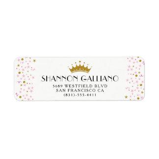 Gold Crown & Pink Confetti Address Return Address Label