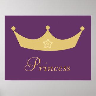 Gold Crown Purple Princess Poster