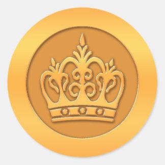 Gold Crown Round Sticker