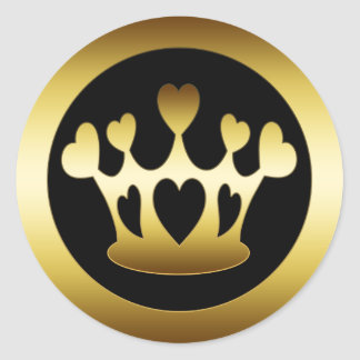 GOLD CROWN WITH HEARTS ROUND STICKER