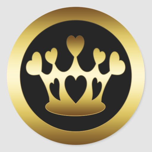 GOLD CROWN WITH HEARTS STICKERS