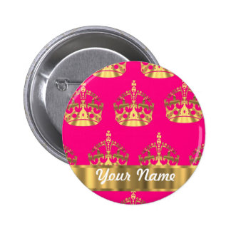 Gold crowns on hot pink pinback buttons