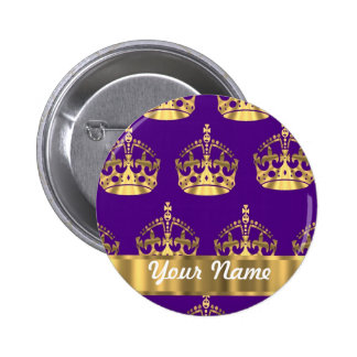 Gold crowns on purple pin