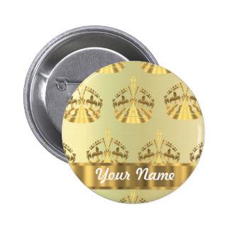 Gold crowns pinback button