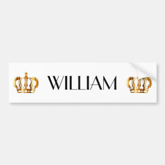 Gold Crowns With Personalized Name Print Bumper Sticker