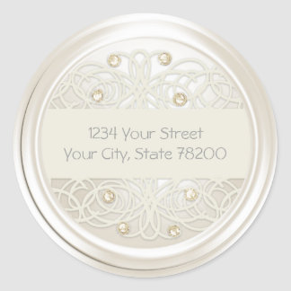 Gold Crystal and Pearl Damask Return Address Stickers