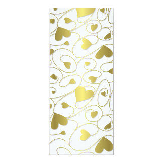 Gold curly hearts 10 cm x 24 cm invitation card