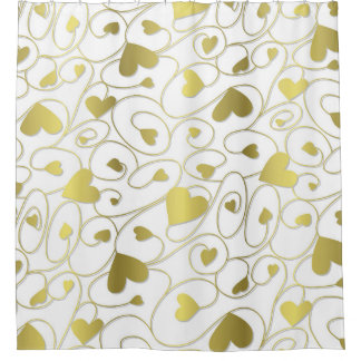 Gold curly hearts shower curtain