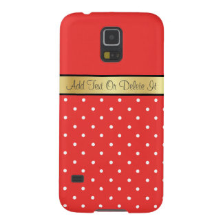 Gold Custom Name Chic Poppy Red & White Polka Dots Galaxy S5 Cover