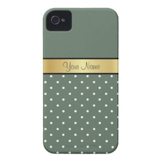 Gold Custom Name Chic, Sage Green White Polka Dots Case-Mate iPhone 4 Cases