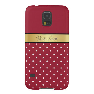 Gold Custom Name Chic Spicy Red & White Polka Dots Cases For Galaxy S5