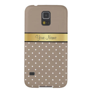 Gold Custom Name Chic Straw Brown White Polka Dots Cases For Galaxy S5