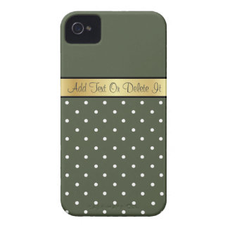 Gold Custom Name Girly Olive Green White PolkaDots Case-Mate iPhone 4 Cases