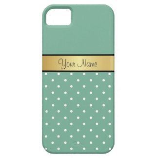 Gold Custom Name Spearmint Green White Polka Dot iPhone 5 Cases