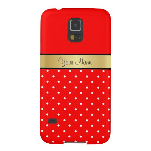 Gold Custom Name Strawberry Red White Polka Dots Case For Galaxy S5