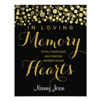 Gold Cut In loving memory sign