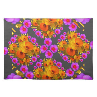 GOLD DAFFODILS FUCHSIA ROSES GREY PLACEMAT