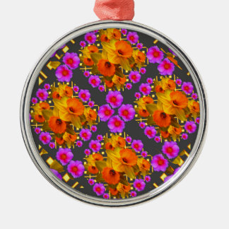 GOLD DAFFODILS FUCHSIA ROSES GREY Silver-Colored ROUND DECORATION