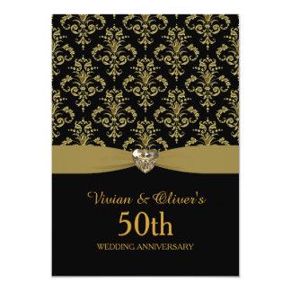 Gold Damask 50th Wedding Anniversary Invitation