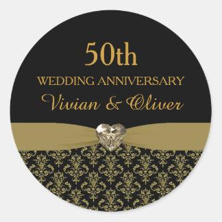 Gold Damask 50th Wedding Anniversary Sticker